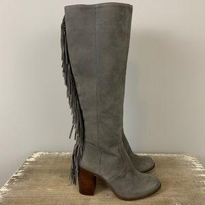 NEW Gianni Bini Back Drop Fringe Suede Tall Boots